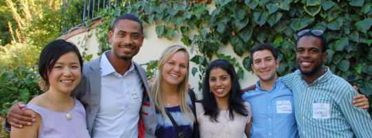 Six smiling new students