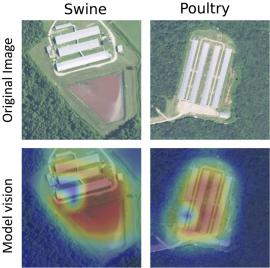 heat map images of swine and poultry facilities