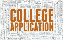 """Word cloud with """"College Application"""" at the center."""