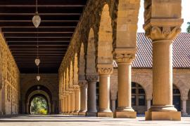 an arcade at Stanford around the main quad, showing archways