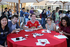 students around table
