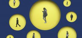 black-and-white photos of people, each put in an individual yellow circle on a dark blue background