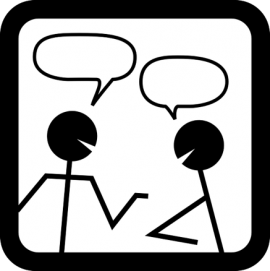 cartoon of talking