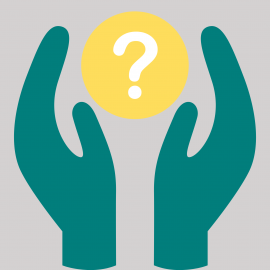 Graphic of hands holding a question mark