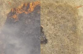a side by side comparison of a dry, grassy area on fire. The left side is black with flames, the right side has very little fire damage