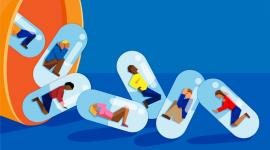 Cartoon people trapped in pill capsules.