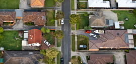 aerial view of houses on a street