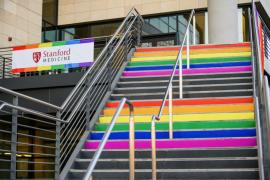 "building at Stanford School of Medicine. A ""Stanford Medicine"" banner with rainbow border hangs on the railing, and the steps are painted in rainbow colors"