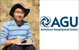 Image made up of a photo of Tianze Liu on the left side, and the AGU logo on the right side