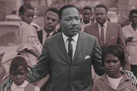 Eva Grace Lemon (7 years old), Martin Luther King Jr., Aretha Willis (7 years old); background Andy Young, Hosea Williams, march to integrate schools, Grenada, MS, 1966.