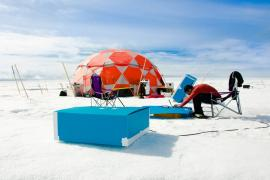 Sean Peters sets up the test site on a Glacier.