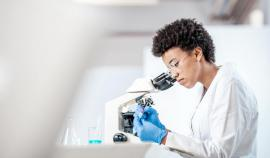 A scientist looks in a microscope.