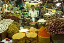 A person stands in the middle of a market stall. In the foreground are bags of spices and vegetables, in the background are cans and bottles of other food goods