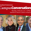 From left to right: President Marc Tessier-Lavigne, Provost Persis Drell, Claude Steele, Lucie Stern Professor Emeritus of Psychology, and Stanford Trustee Charles Young, chair of the newly formed Black Community Council.