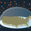 illustration of the United States under a bubble, with pills surrounding the bubble
